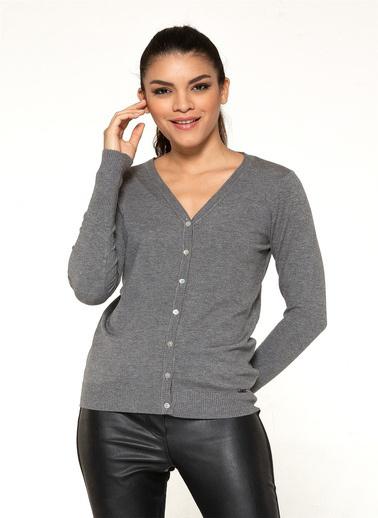 Optique Knitwear Düz V Yaka Uzun Kol Triko Hırka Gri